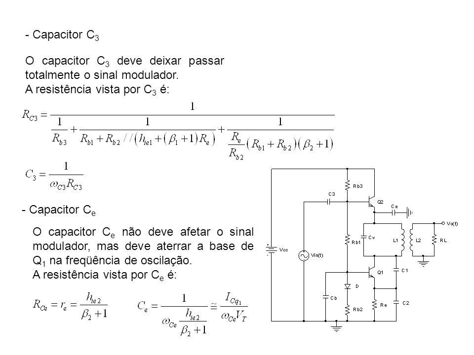 - Capacitor C3 O capacitor C3 deve deixar passar totalmente o sinal modulador. A resistência vista por C3 é: