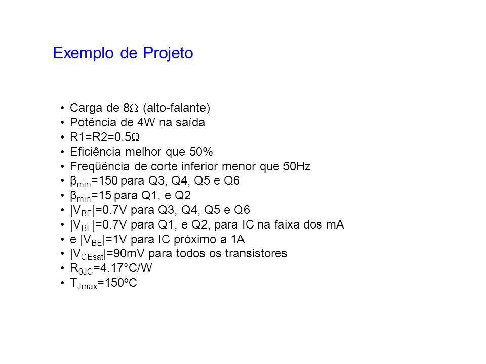 Exemplo de Projeto Carga de 8 (alto-falante) Potência de 4W na saída