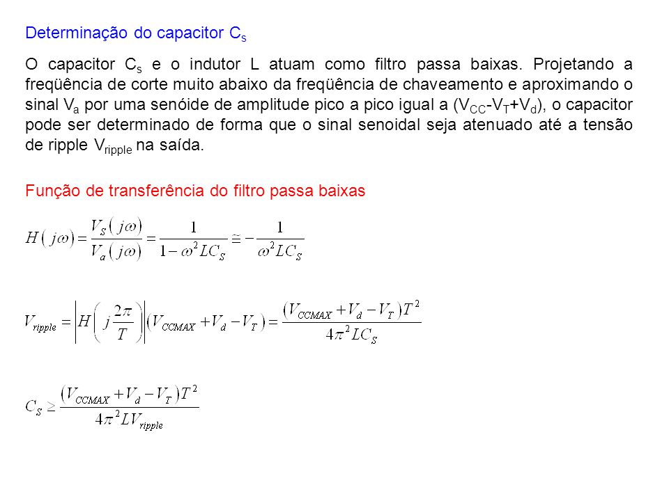 Determinação do capacitor Cs