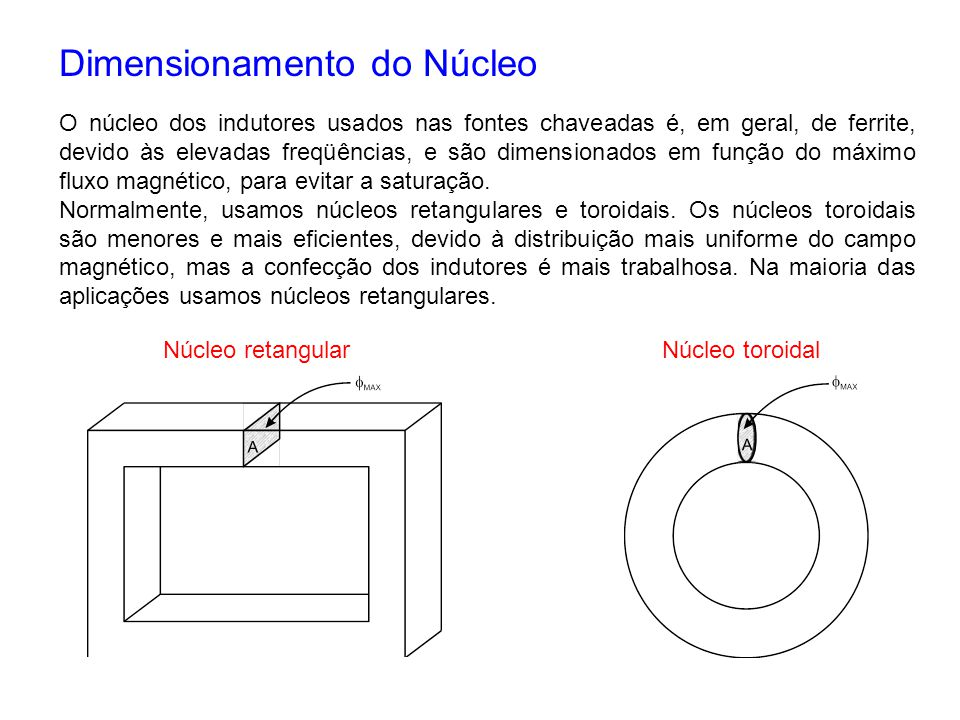 Dimensionamento do Núcleo
