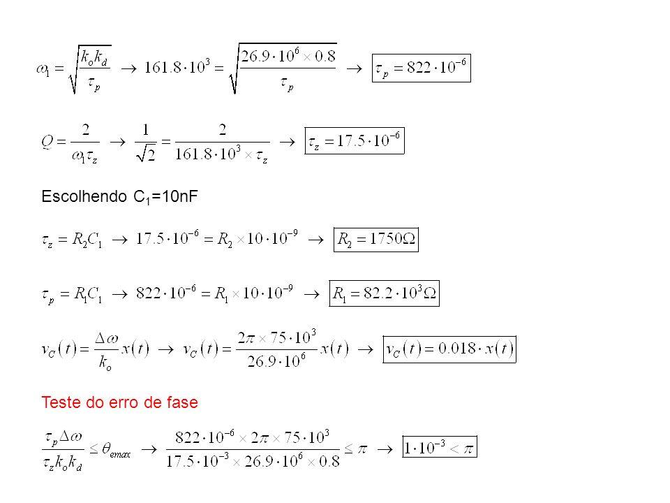 Escolhendo C1=10nF Teste do erro de fase