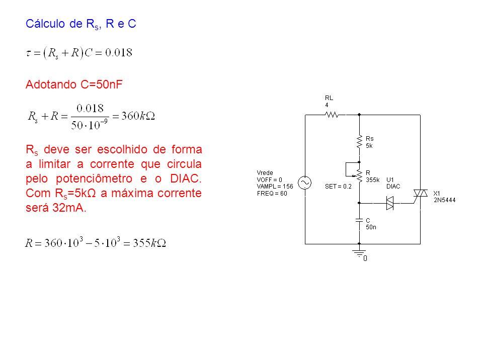 Cálculo de Rs, R e C Adotando C=50nF.