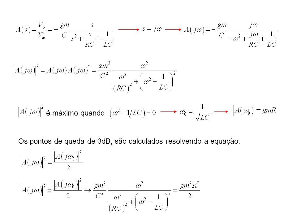 é máximo quando Os pontos de queda de 3dB, são calculados resolvendo a equação: