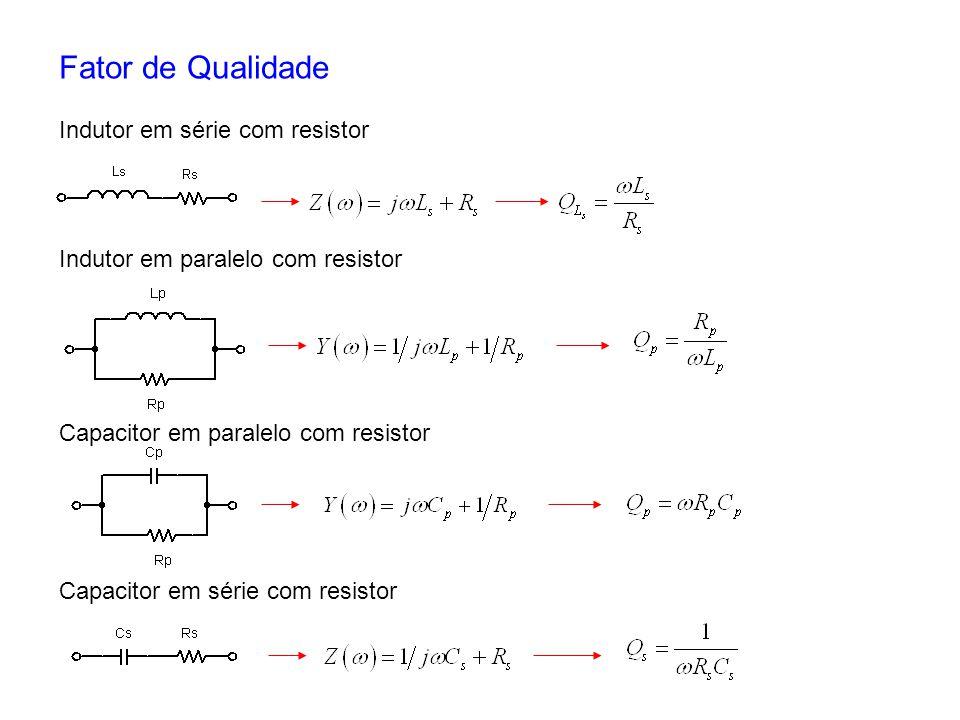 Fator de Qualidade Indutor em série com resistor