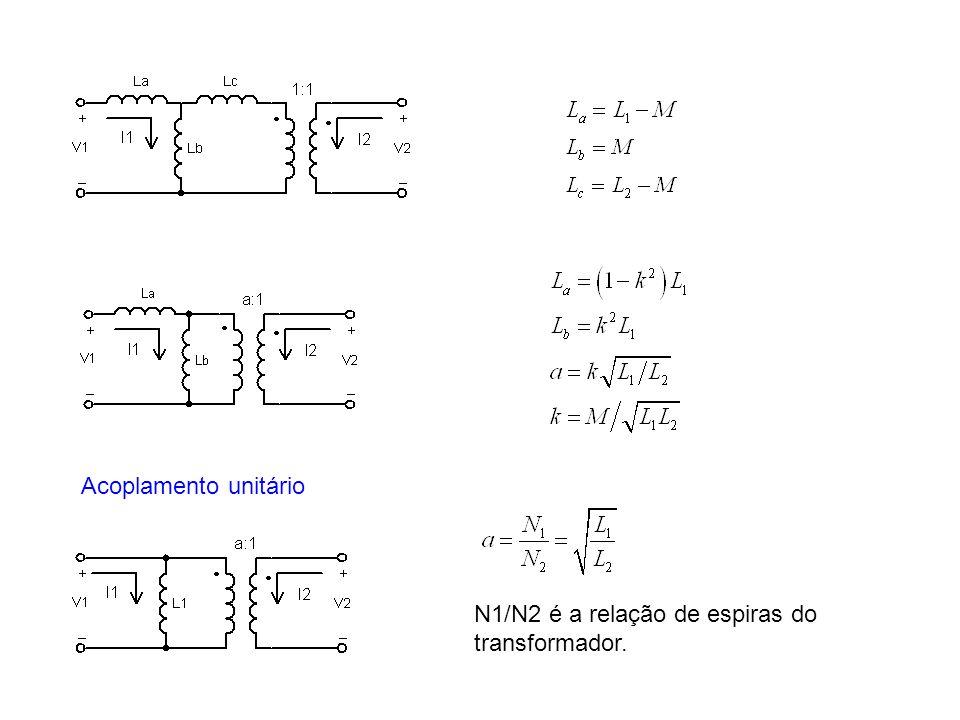 Acoplamento unitário N1/N2 é a relação de espiras do transformador.
