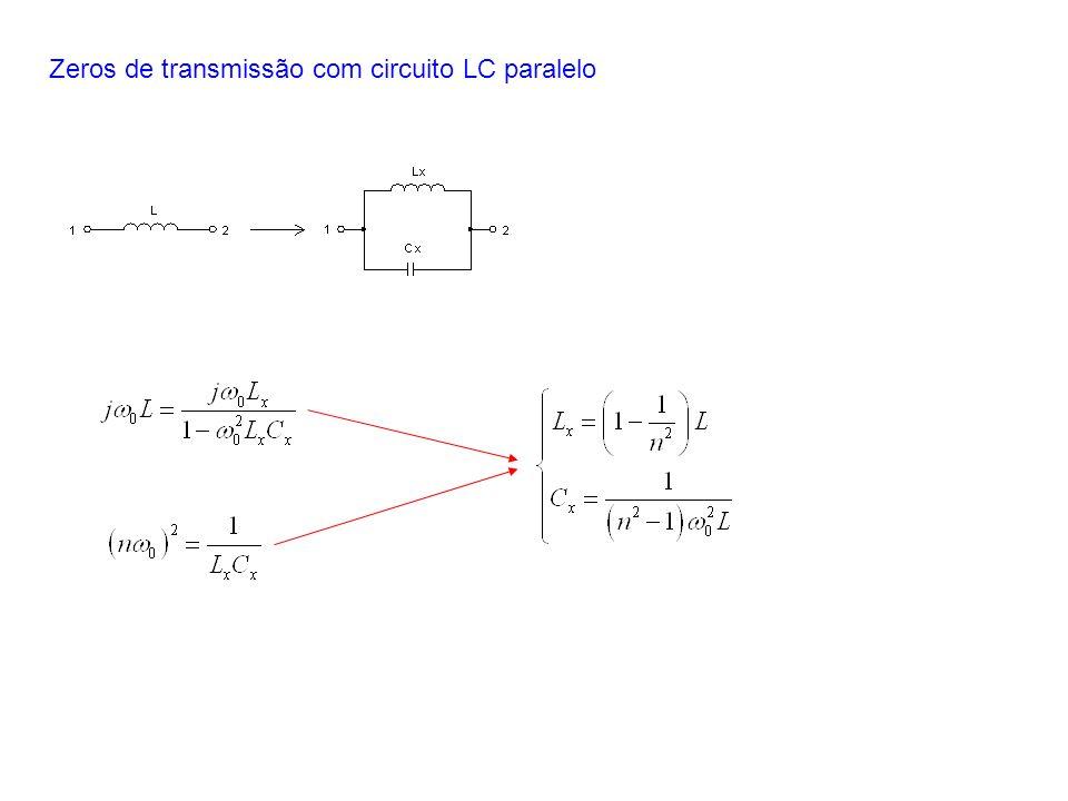 Zeros de transmissão com circuito LC paralelo