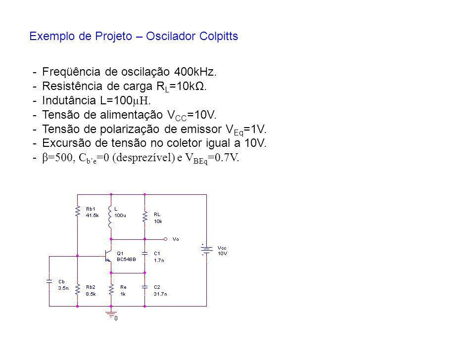 Exemplo de Projeto – Oscilador Colpitts