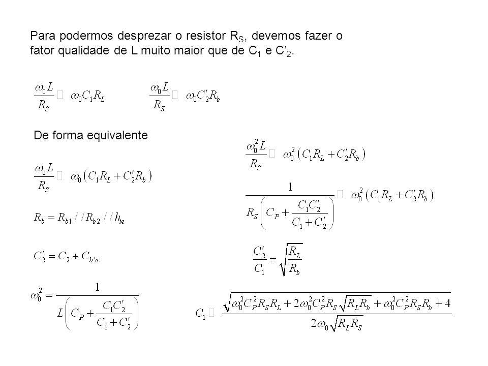 Para podermos desprezar o resistor RS, devemos fazer o fator qualidade de L muito maior que de C1 e C'2.