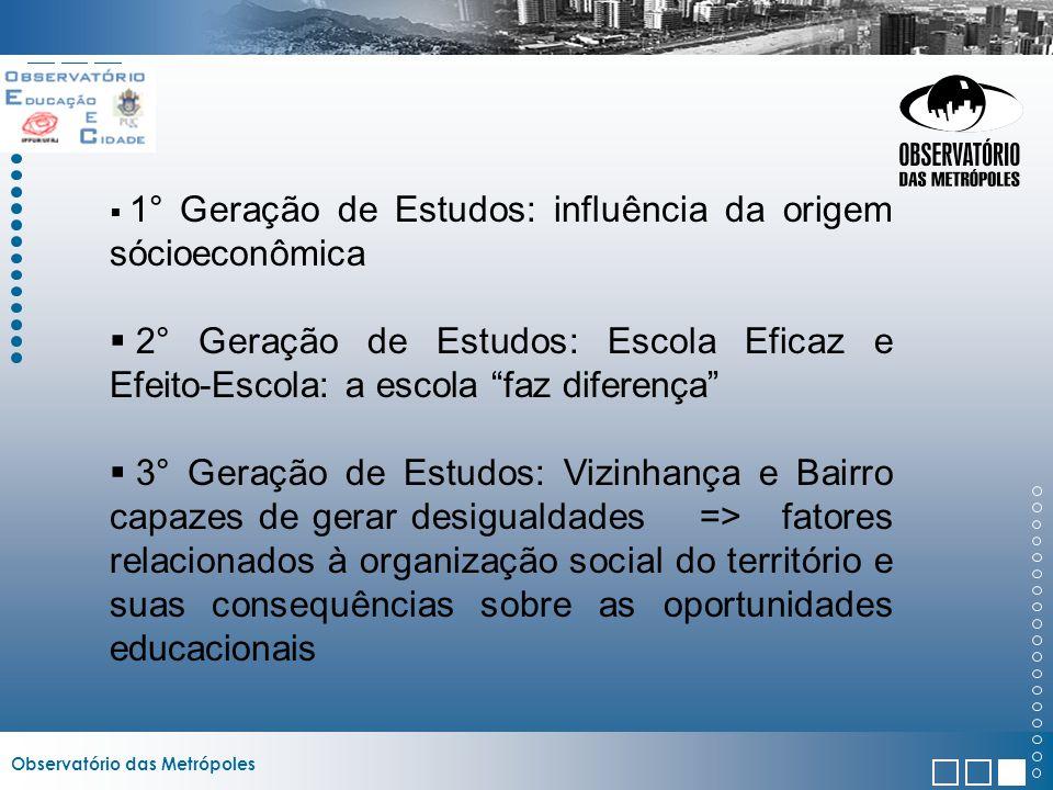 1° Geração de Estudos: influência da origem sócioeconômica