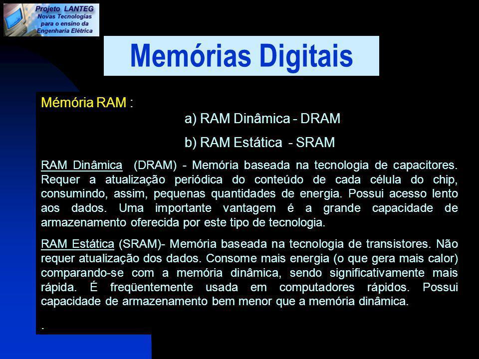 Memórias Digitais Mémória RAM : a) RAM Dinâmica - DRAM
