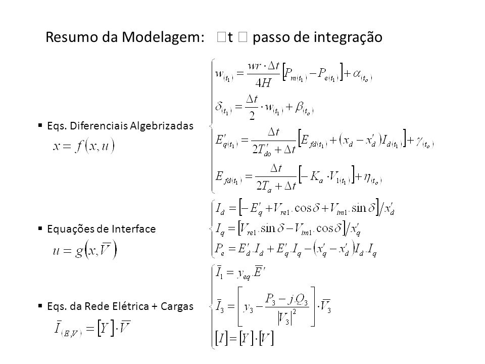 Resumo da Modelagem: t  passo de integração