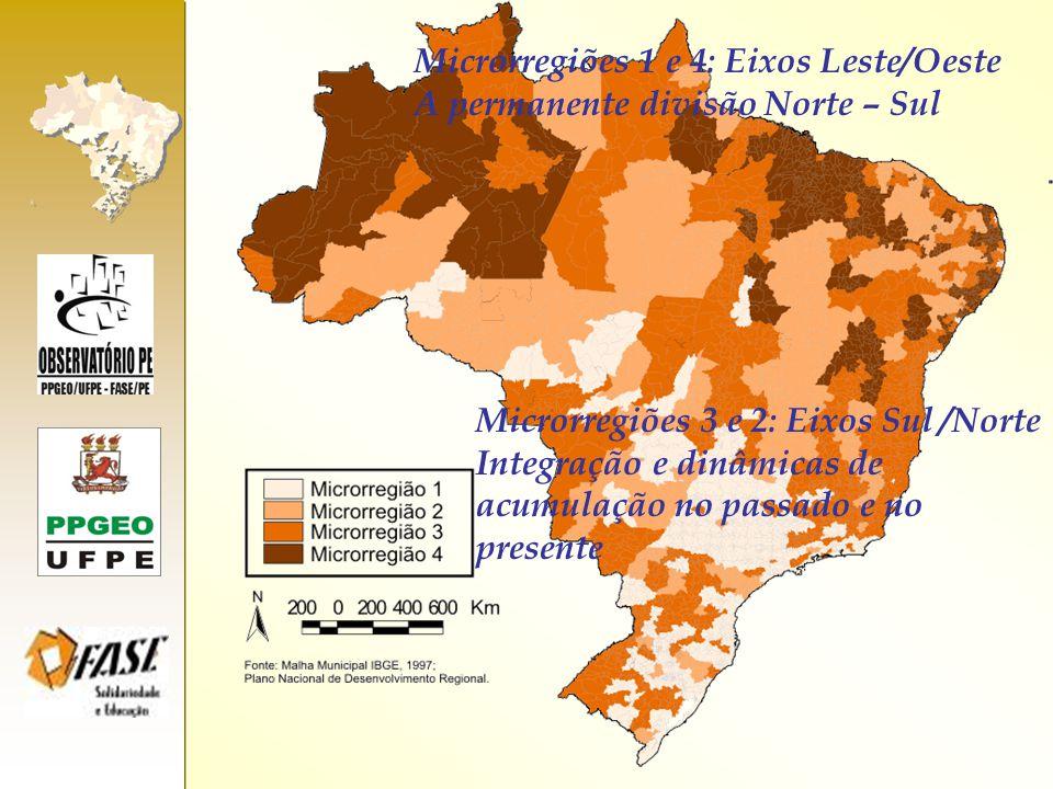 Microrregiões 1 e 4: Eixos Leste/Oeste A permanente divisão Norte – Sul