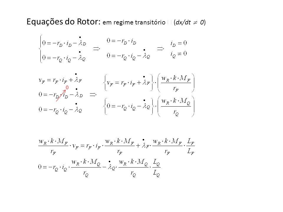 Equações do Rotor: em regime transitório  (dx/dt  0)