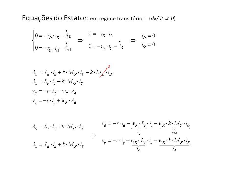 Equações do Estator: em regime transitório  (dx/dt  0)