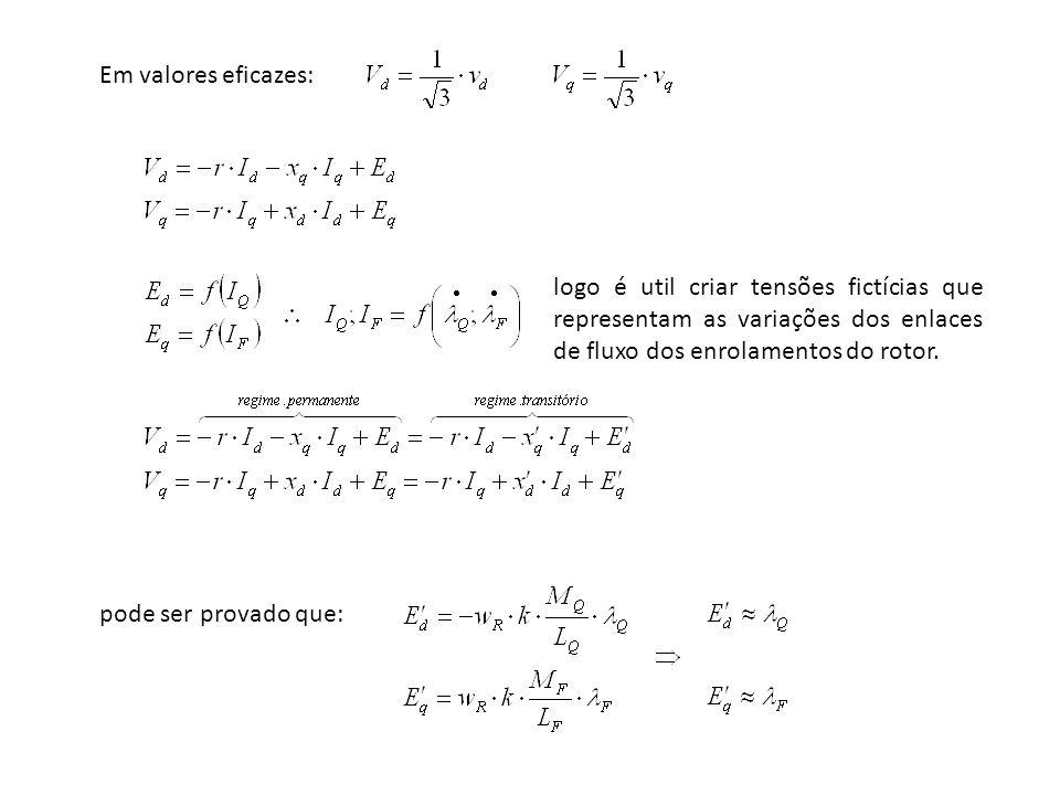 Em valores eficazes: logo é util criar tensões fictícias que representam as variações dos enlaces de fluxo dos enrolamentos do rotor.