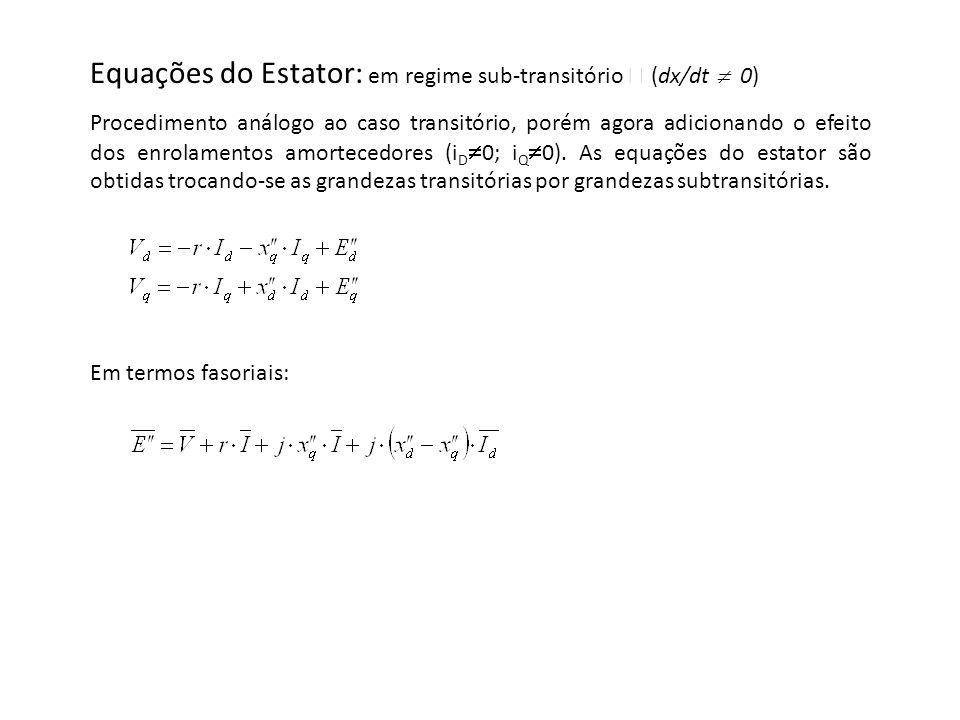 Equações do Estator: em regime sub-transitório  (dx/dt  0)