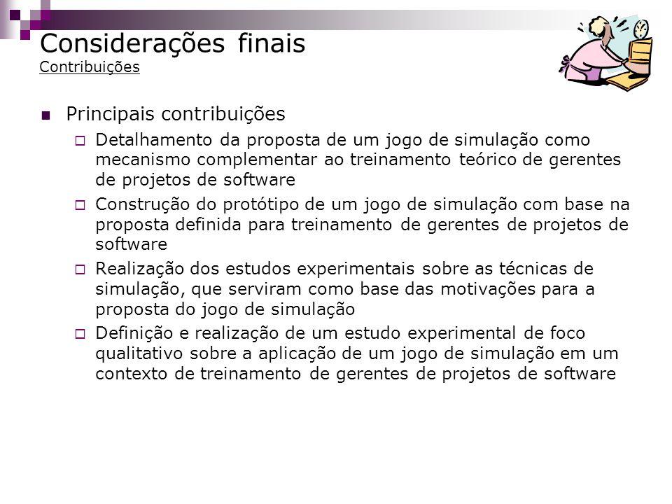 Considerações finais Contribuições
