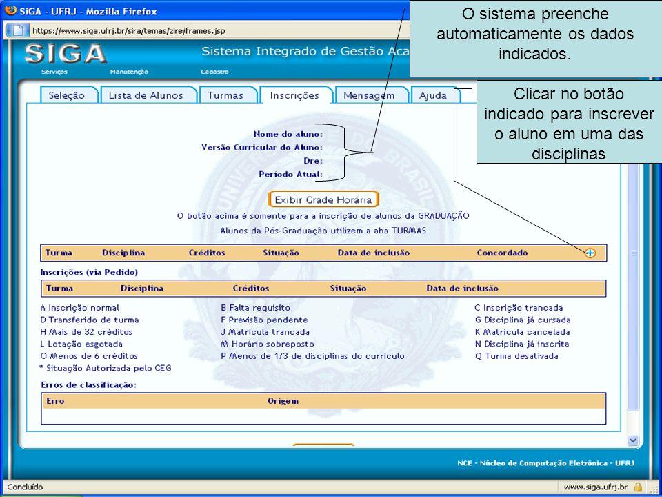 O sistema preenche automaticamente os dados indicados.