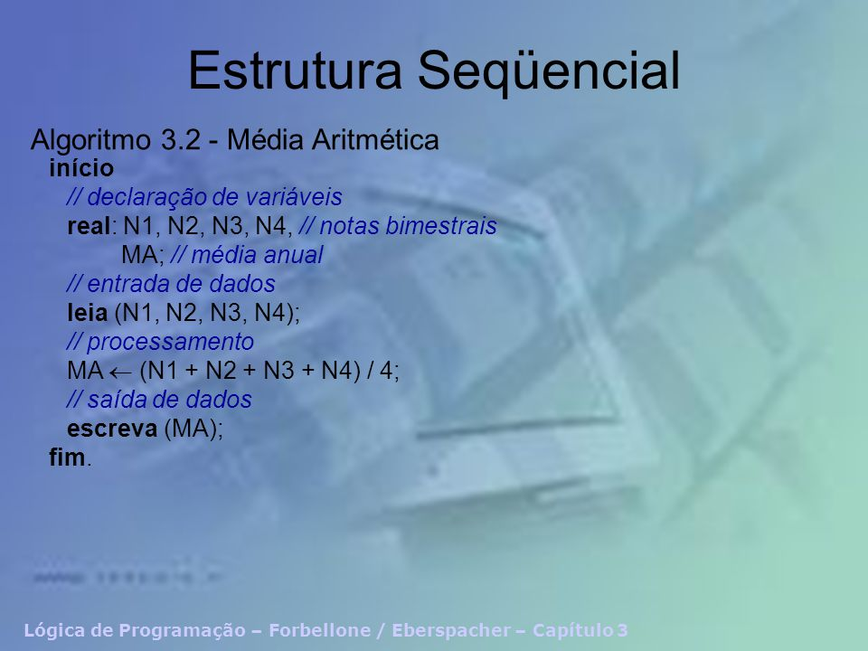 Estrutura Seqüencial Algoritmo 3.2 - Média Aritmética