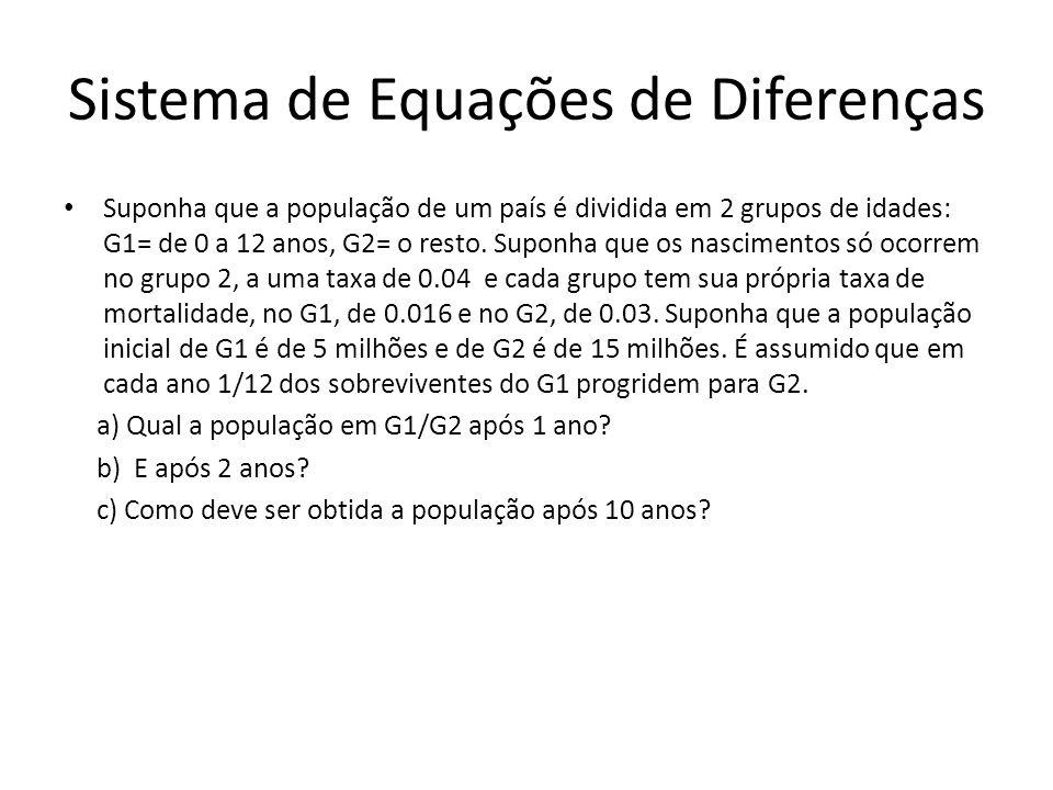 Sistema de Equações de Diferenças