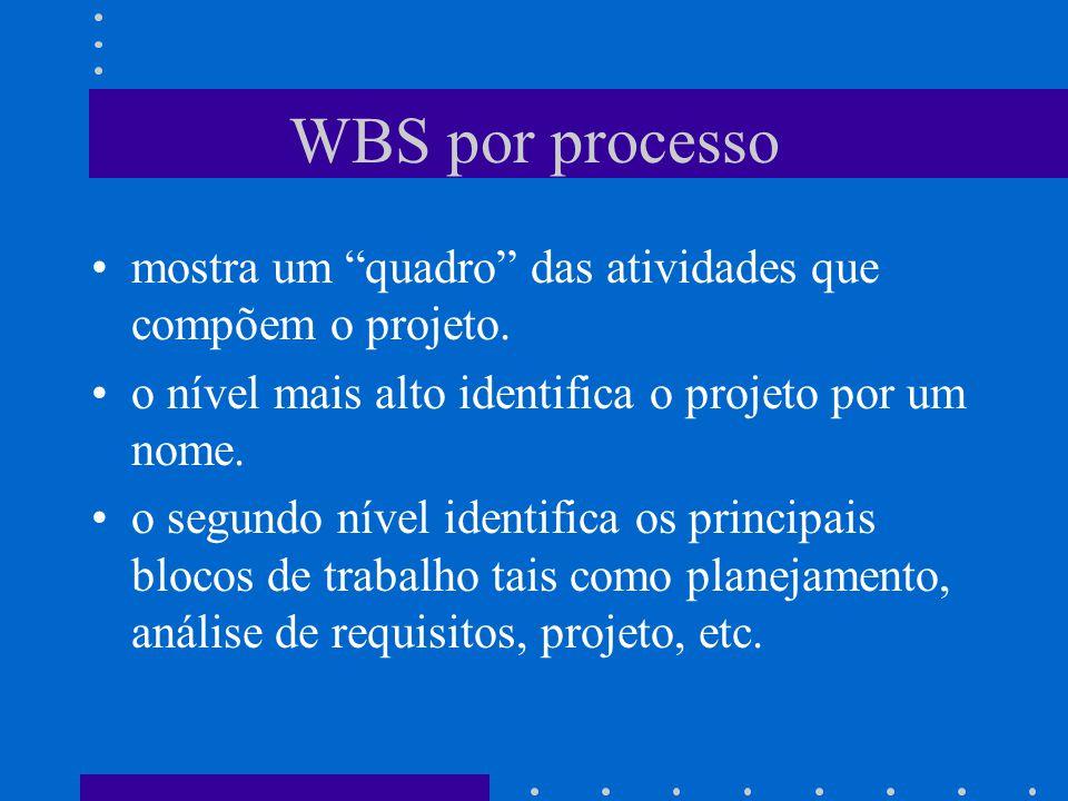 WBS por processo mostra um quadro das atividades que compõem o projeto. o nível mais alto identifica o projeto por um nome.