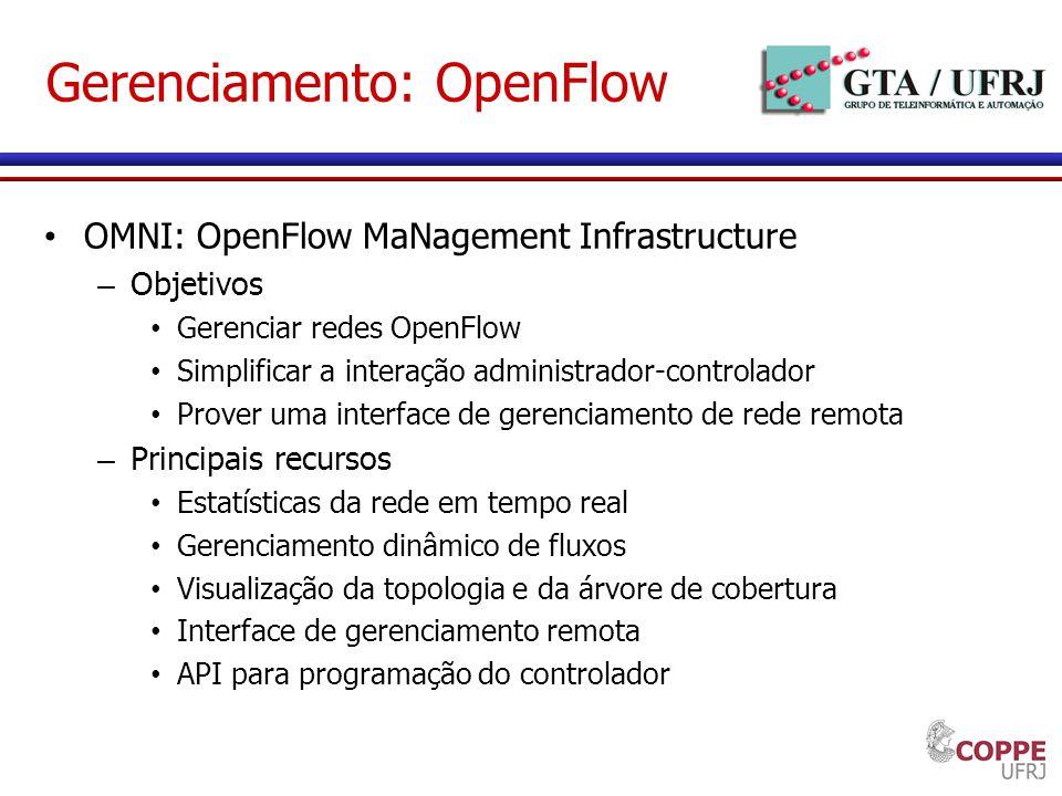 Gerenciamento: OpenFlow