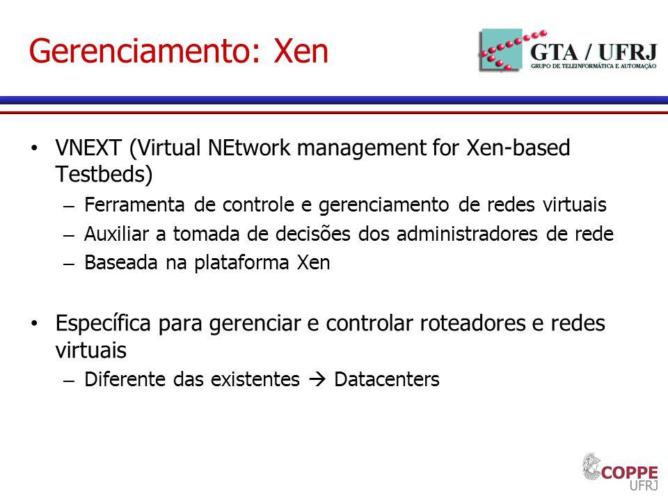 Gerenciamento: Xen VNEXT (Virtual NEtwork management for Xen-based Testbeds) Ferramenta de controle e gerenciamento de redes virtuais.