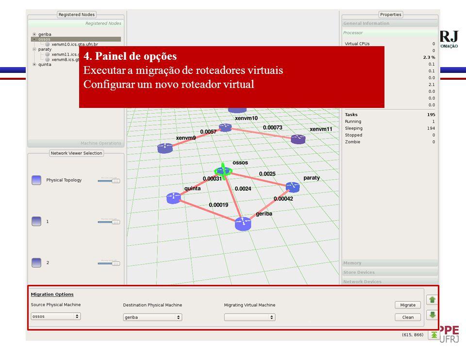 4. Painel de opções Executar a migração de roteadores virtuais Configurar um novo roteador virtual