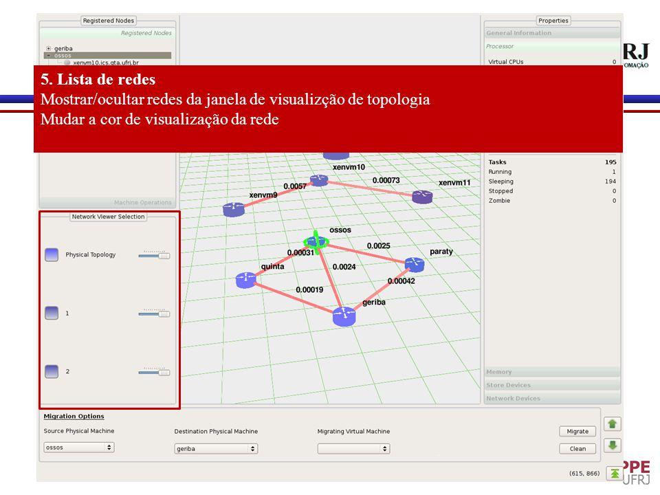 5. Lista de redes Mostrar/ocultar redes da janela de visualizção de topologia.