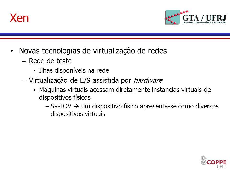 Xen Novas tecnologias de virtualização de redes Rede de teste