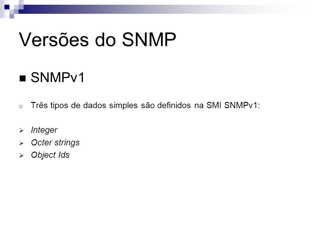 Versões do SNMP SNMPv1. Três tipos de dados simples são definidos na SMI SNMPv1: Integer. Octer strings.