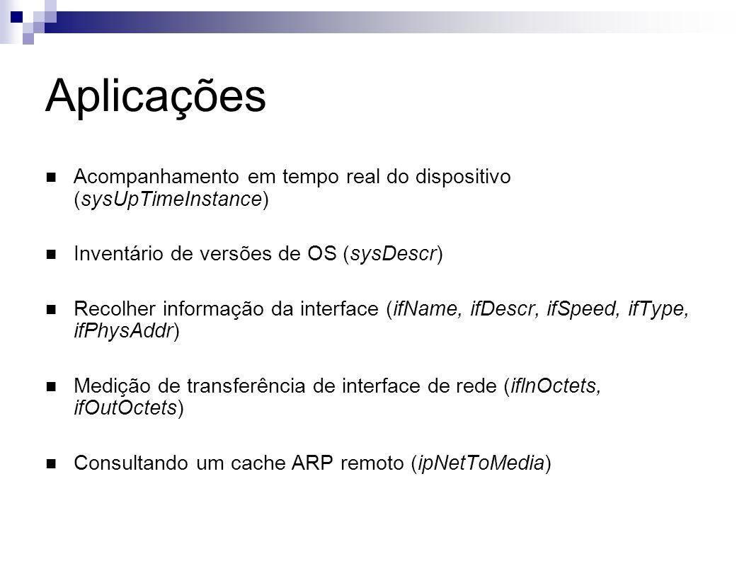 Aplicações Acompanhamento em tempo real do dispositivo (sysUpTimeInstance) Inventário de versões de OS (sysDescr)
