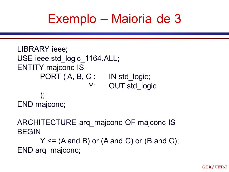 Exemplo – Maioria de 3 LIBRARY ieee; USE ieee.std_logic_1164.ALL;