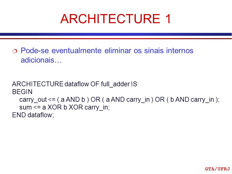 ARCHITECTURE 1 Pode-se eventualmente eliminar os sinais internos adicionais… ARCHITECTURE dataflow OF full_adder IS.