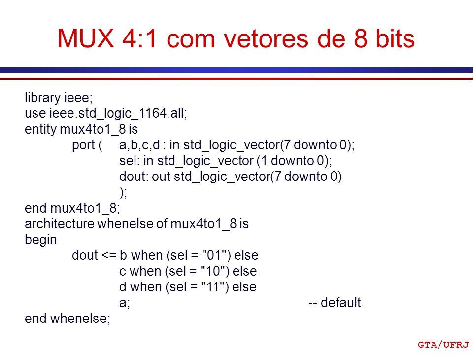 MUX 4:1 com vetores de 8 bits