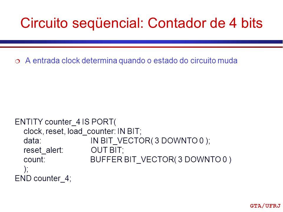 Circuito seqüencial: Contador de 4 bits