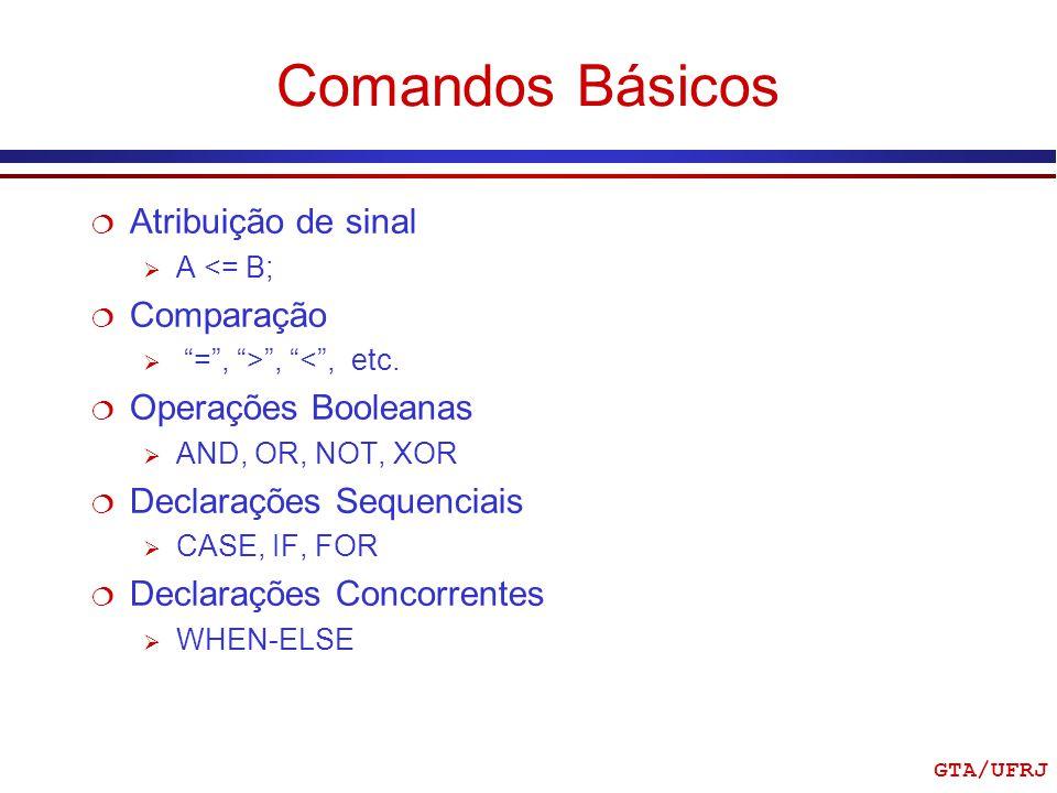 Comandos Básicos Atribuição de sinal Comparação Operações Booleanas