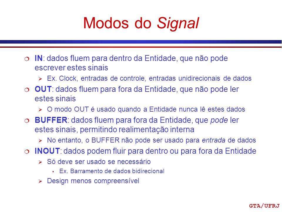 Modos do Signal IN: dados fluem para dentro da Entidade, que não pode escrever estes sinais.