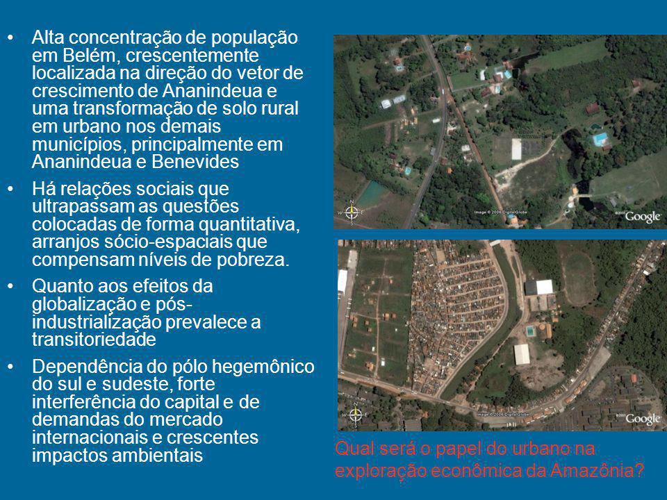 Alta concentração de população em Belém, crescentemente localizada na direção do vetor de crescimento de Ananindeua e uma transformação de solo rural em urbano nos demais municípios, principalmente em Ananindeua e Benevides