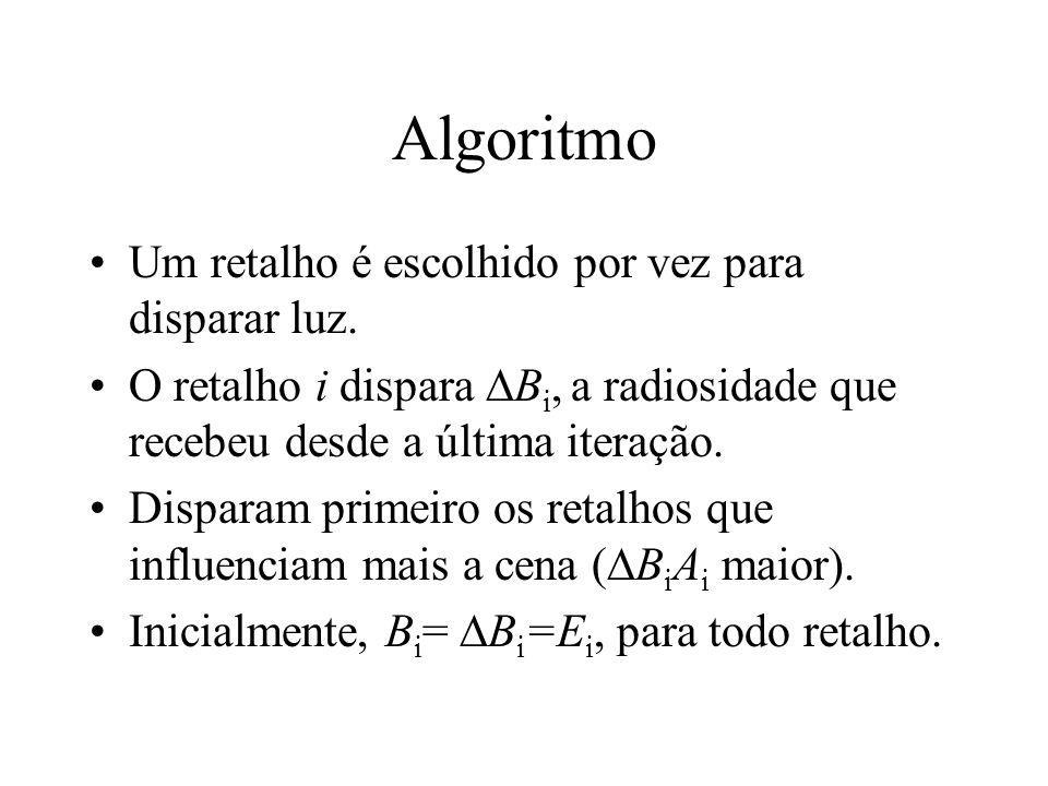 Algoritmo Um retalho é escolhido por vez para disparar luz.