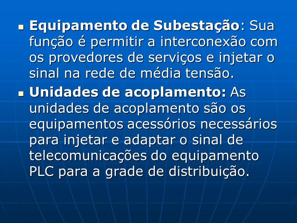 Equipamento de Subestação: Sua função é permitir a interconexão com os provedores de serviços e injetar o sinal na rede de média tensão.