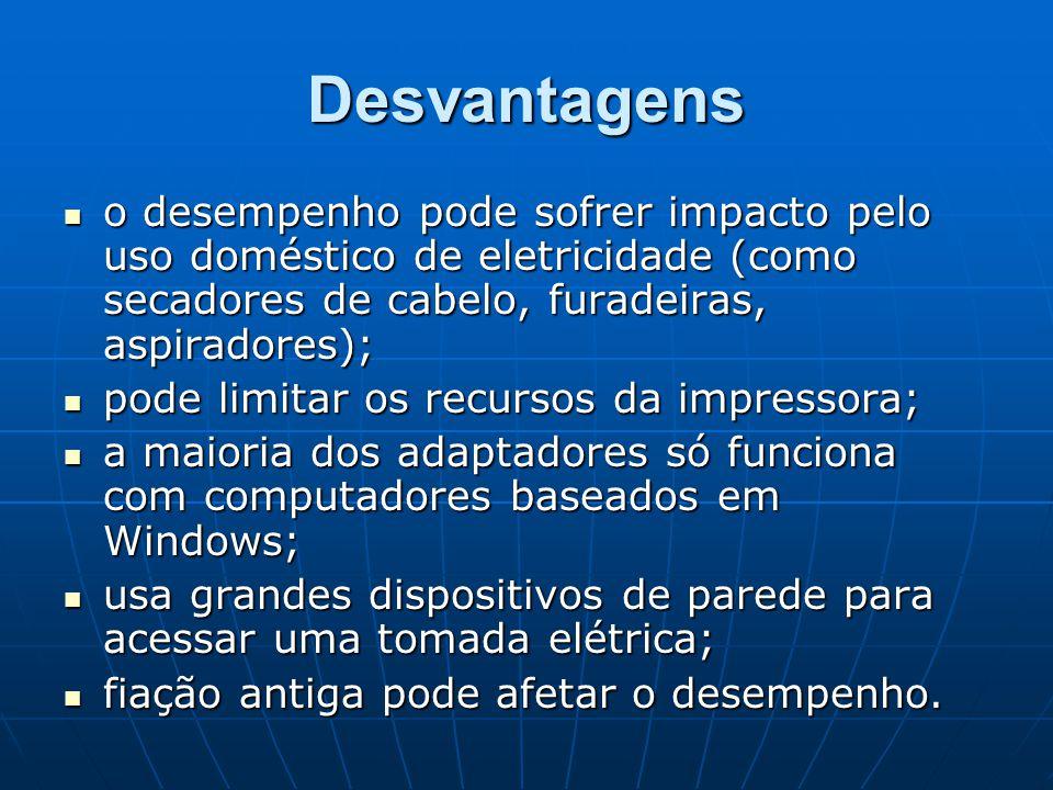 Desvantagens o desempenho pode sofrer impacto pelo uso doméstico de eletricidade (como secadores de cabelo, furadeiras, aspiradores);