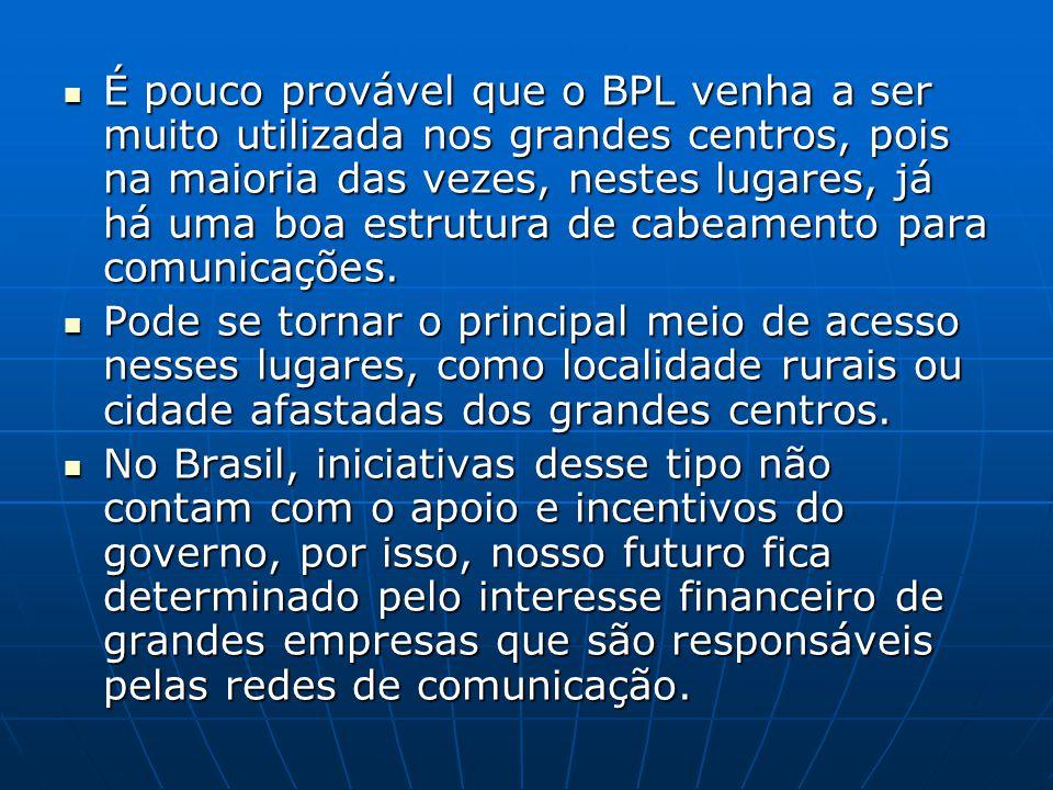 É pouco provável que o BPL venha a ser muito utilizada nos grandes centros, pois na maioria das vezes, nestes lugares, já há uma boa estrutura de cabeamento para comunicações.
