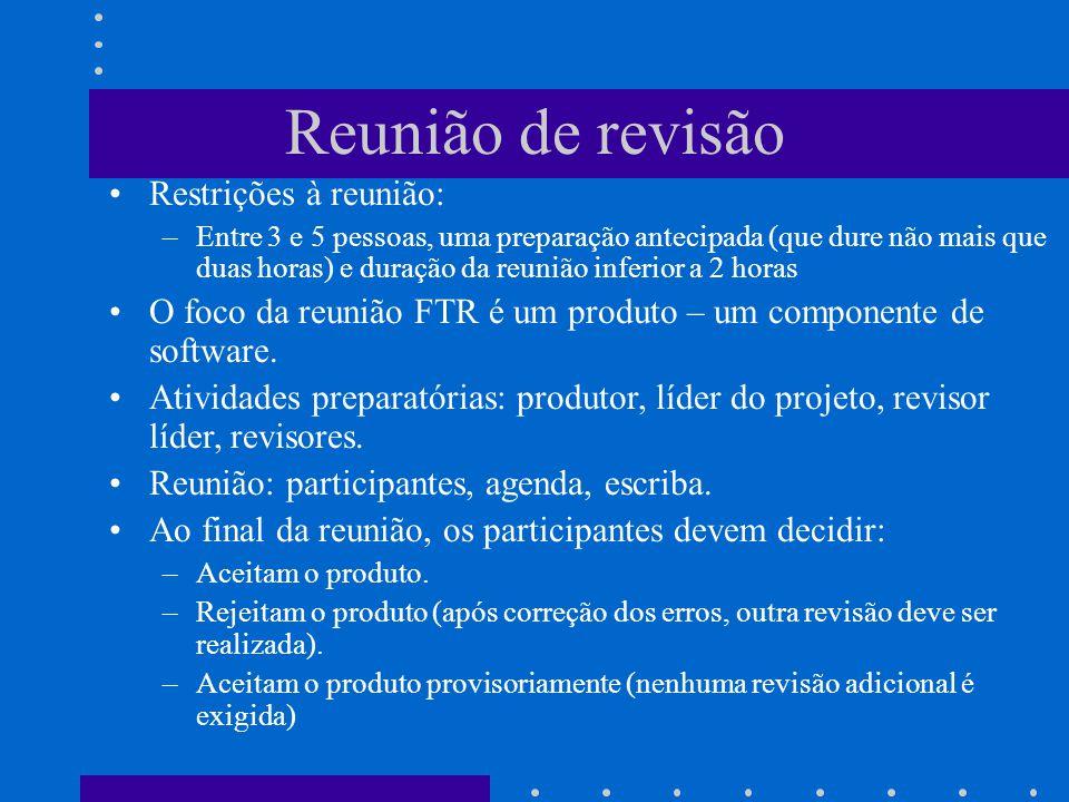 Reunião de revisão Restrições à reunião: