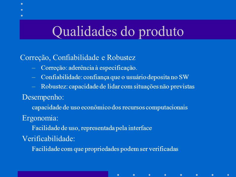 Qualidades do produto Correção, Confiabilidade e Robustez Desempenho: