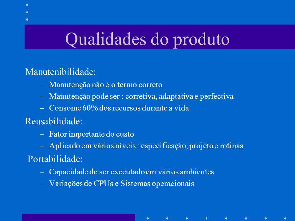Qualidades do produto Manutenibilidade: Reusabilidade: Portabilidade: