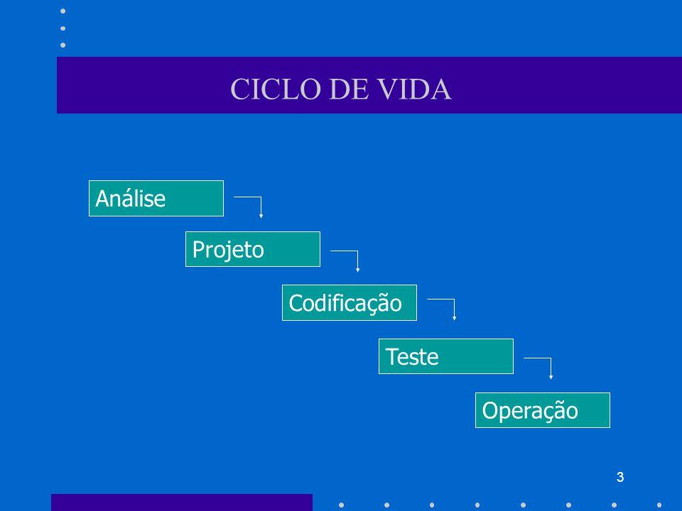 CICLO DE VIDA Análise Projeto Codificação Teste Operação