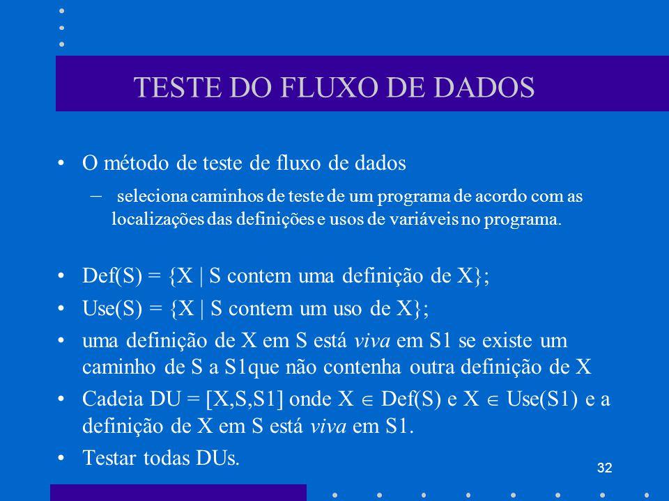 TESTE DO FLUXO DE DADOS O método de teste de fluxo de dados