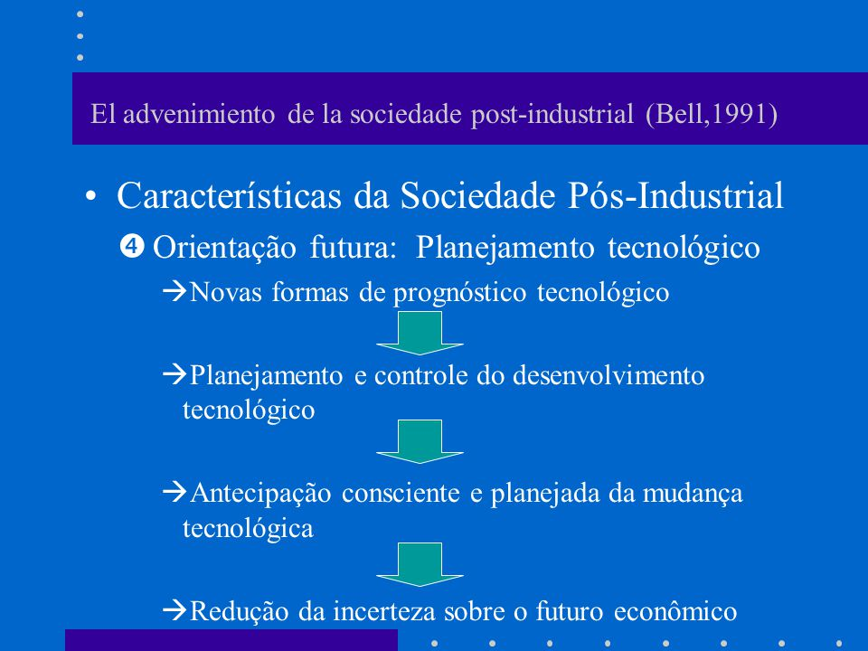 El advenimiento de la sociedade post-industrial (Bell,1991)