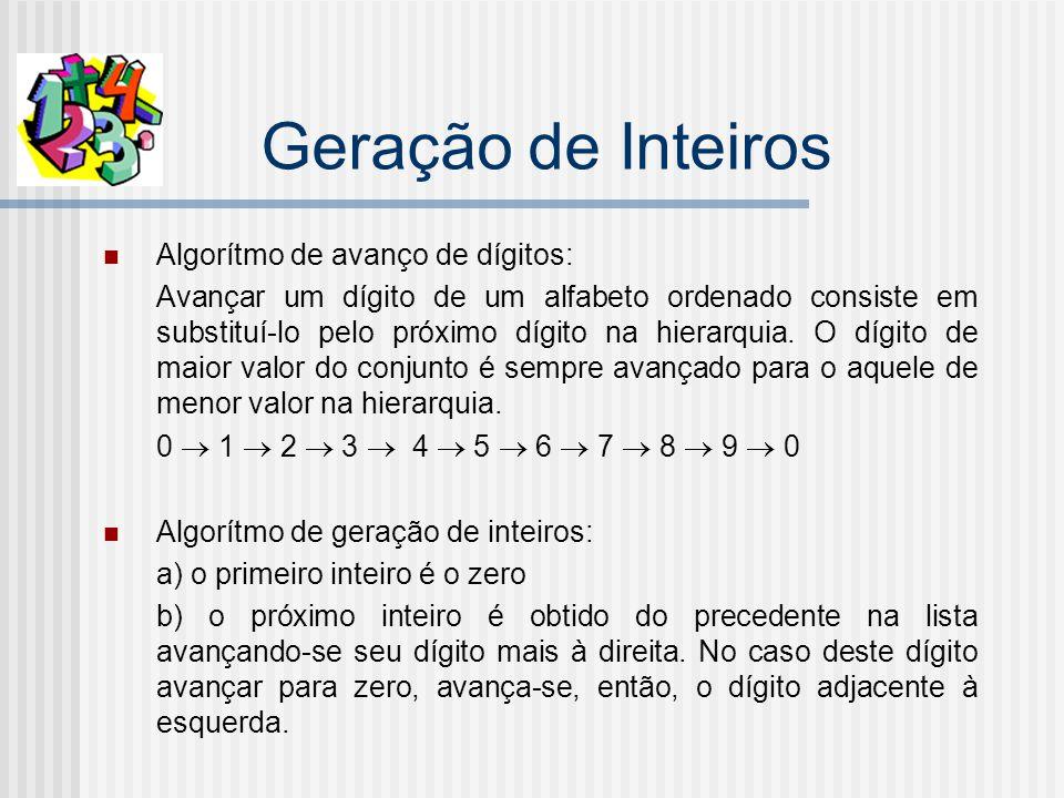 Geração de Inteiros Algorítmo de avanço de dígitos: